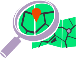 magnifier on map