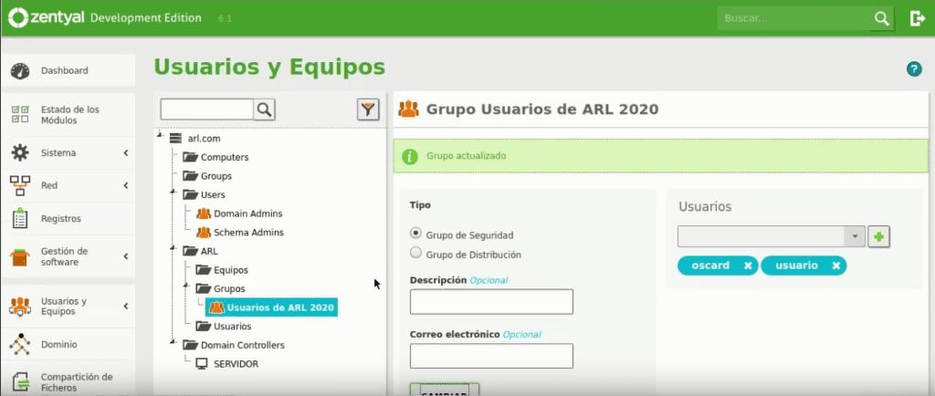 Gestión de los usuarios y grupos en Zentyal