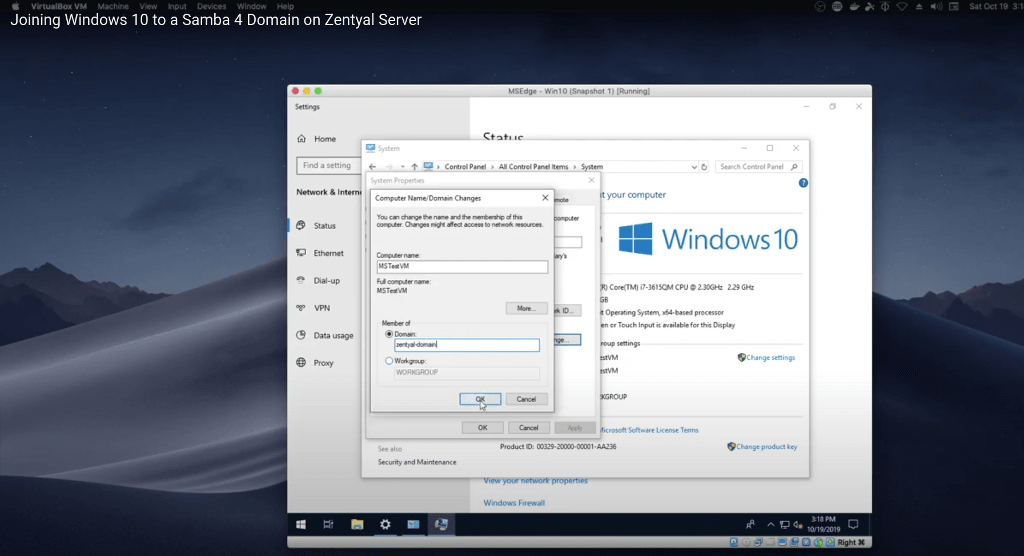 How to join Windows 10 client to Samba4 domain on Zentyal Linux Server